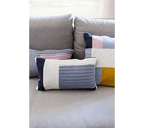 Knitted Cushion Florencia Mustard-Grey