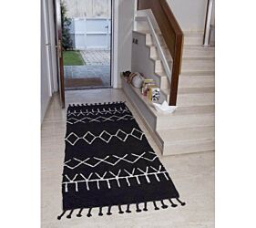 Washable Rug Bereber Black- Runner