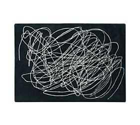 Wool Rug Scribble Black & White