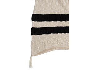Washable Knitted Blanket Stripes Natural - Black